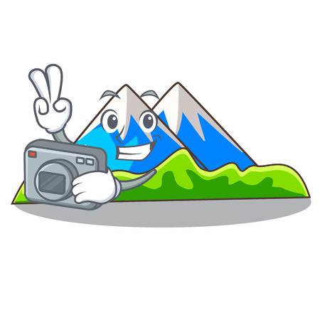 Photographer mountain scenery isolated from the mascot vector ilustration