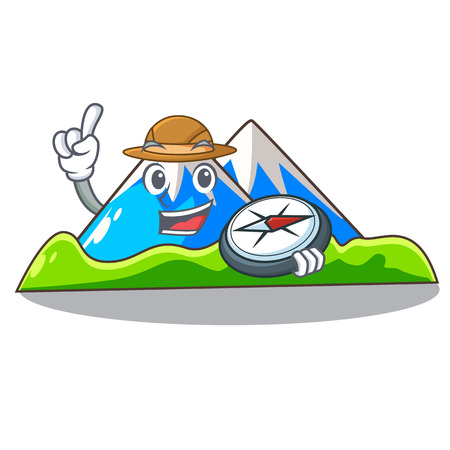 Explorer mountain scenery isolated from the mascot vector ilustration