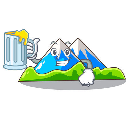 With juice mountain scenery isolated from the mascot vector ilustration