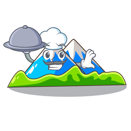 Chef with food mountain scenery isolated from the mascot vector ilustration