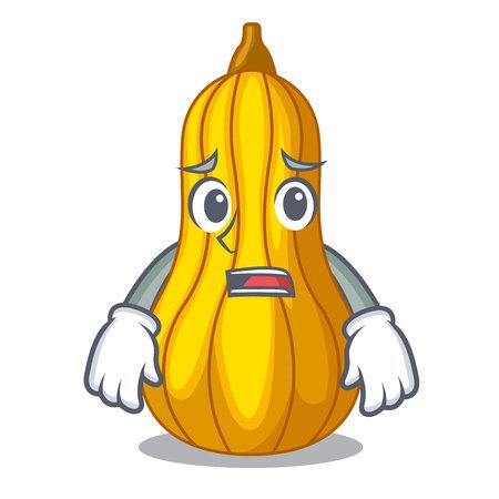 Afraid squash fruit in cartoon wooden box vector illustration