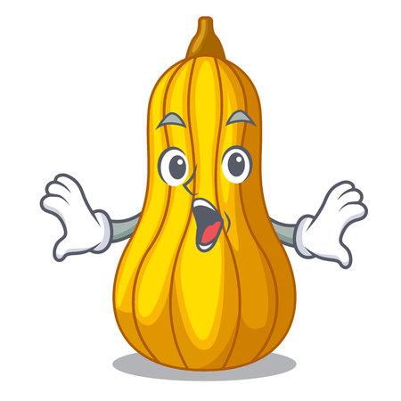 Surprised squash fruit in cartoon wooden box vector illustration