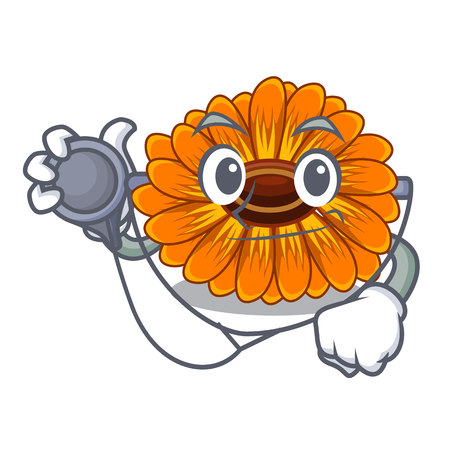 Doctor calendula flowers in the cartoon pots vector illustration