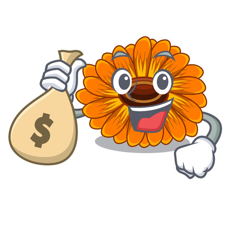 With money bag calendula flowers in the cartoon pots vector illustration