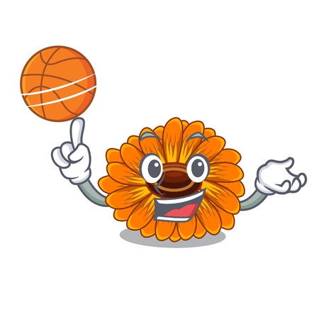 With basketball calendula flowers in the cartoon pots vector illustration