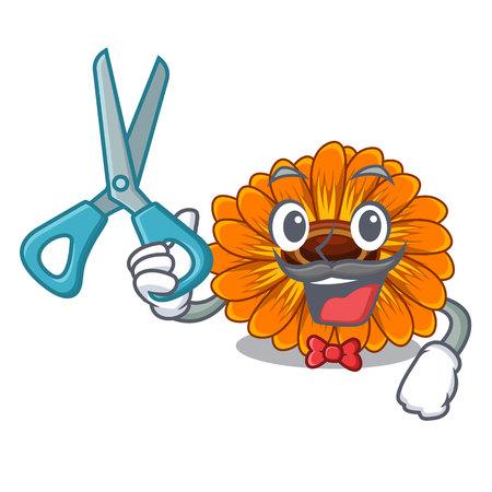 Barber calendula flowers in the cartoon pots vector illustration