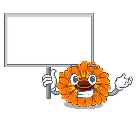 Bring board calendula flowers in the cartoon pots vector illustration