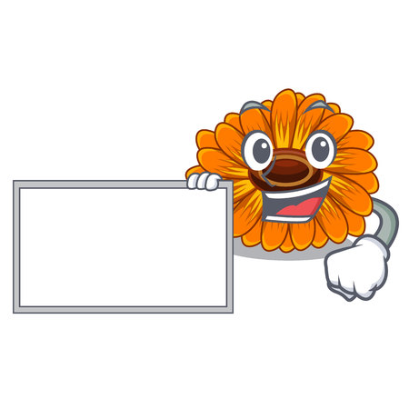 With board calendula flowers in the cartoon pots vector illustration