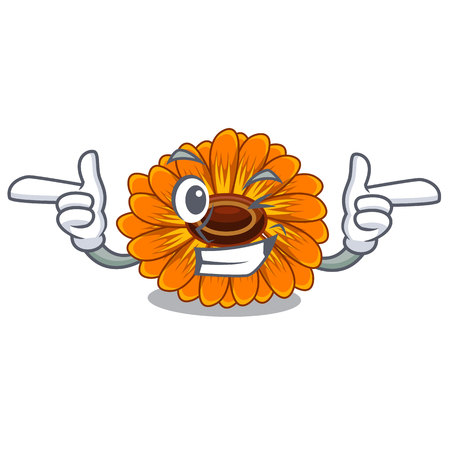 Wink calendula flowers in a cartoon basket vector illustration Ilustração