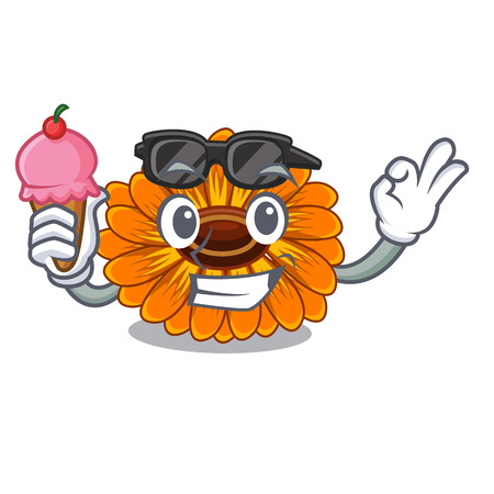 With ice cream calendula flowers in a cartoon basket vector illustration