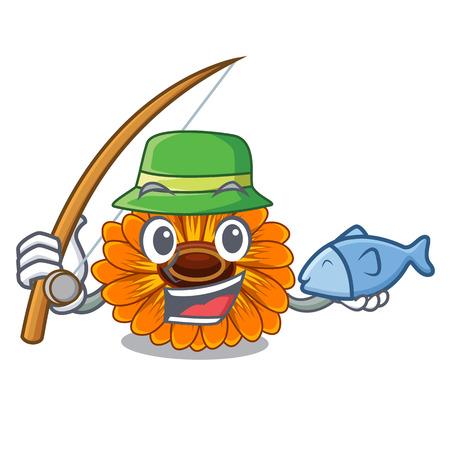 Fishing calendula flower in the mascot stem vector illustratrion