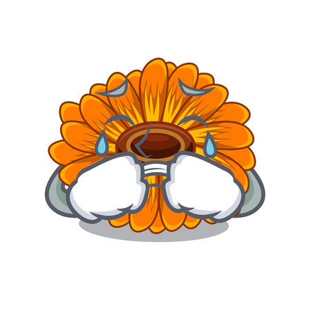 Crying calendula flower in the mascot stem vector illustratrion