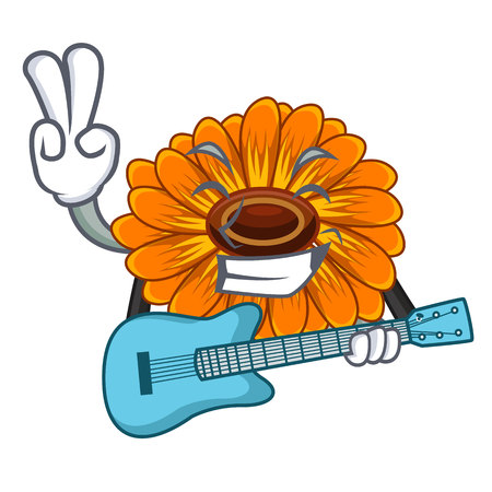 With guitar calendula flower in the mascot stem vector illustratrion