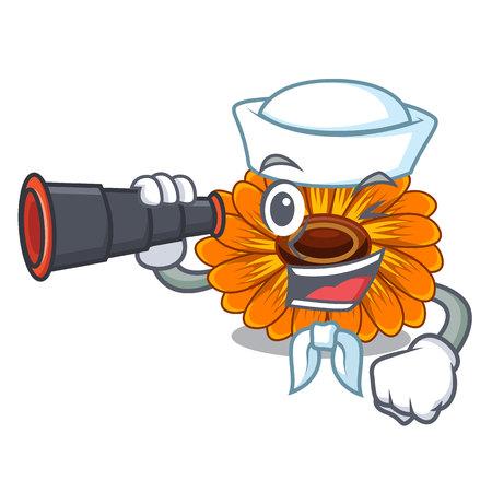 Sailor with binocular calendula flower in the mascot stem vector illustratrion Ilustração