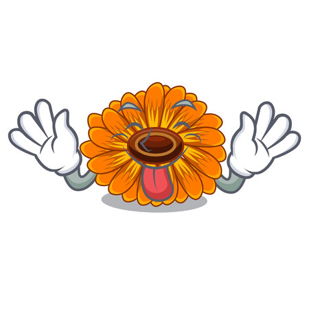 Tongue out calendul flower tree is character shape vector illustration