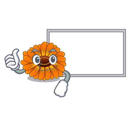 Thumbs up with board calendula flowers in the cartoon pots vector illustration Ilustrace
