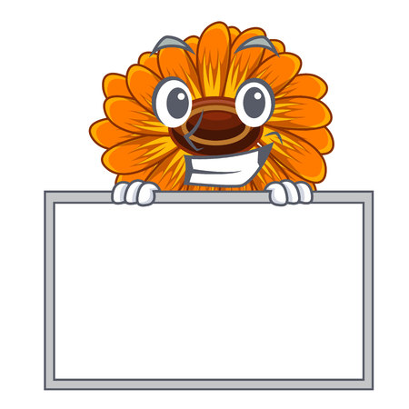 Grinning with board calendula flowers in the cartoon pots vector illustration