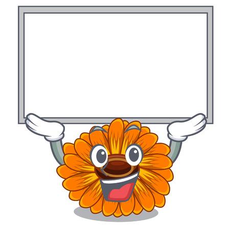 Up board calendula flowers in the cartoon pots vector illustration