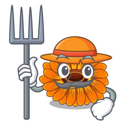 Farmer calendula flowers in the cartoon pots vector illustration Ilustrace