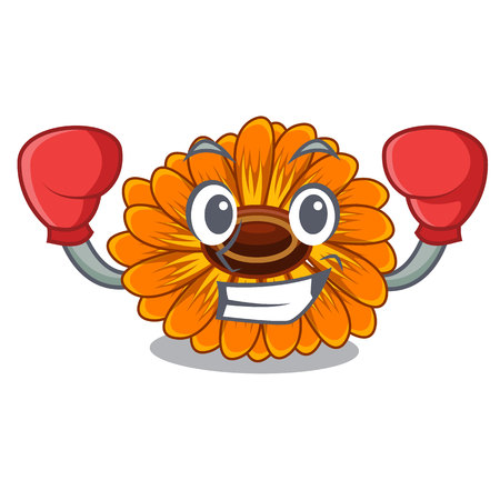 Boxing calendula flowers in the cartoon pots vector illustration Ilustração