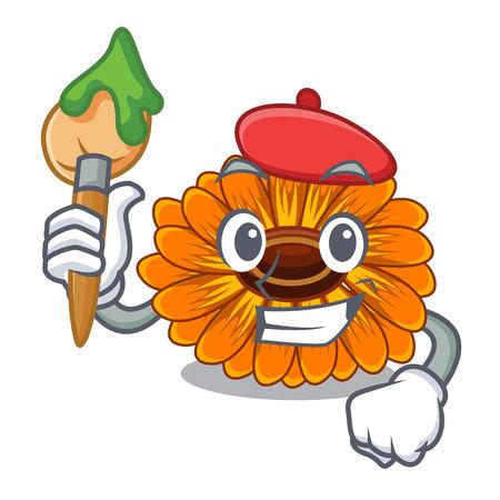 Artist calendula flowers in the cartoon pots vector illustration