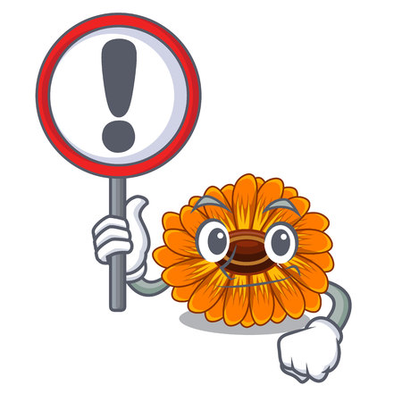 With sign calendula flowers in the cartoon pots vector illustration