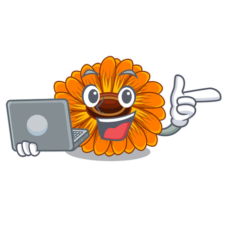 With laptop calendula flowers in the cartoon pots vector illustration
