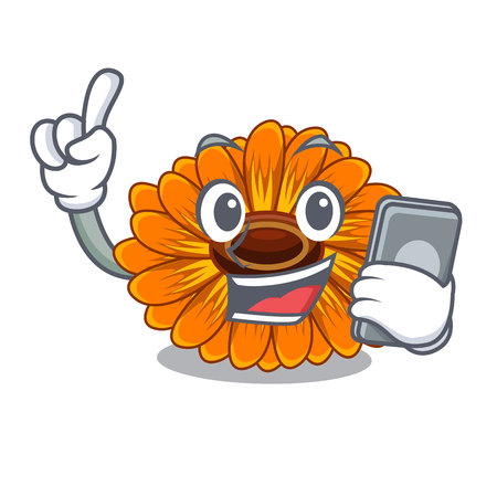 With phone calendula flowers in the cartoon pots vector illustration