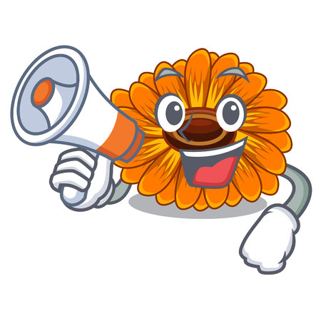 With megaphone calendula flowers in the cartoon pots vector illustration Illusztráció