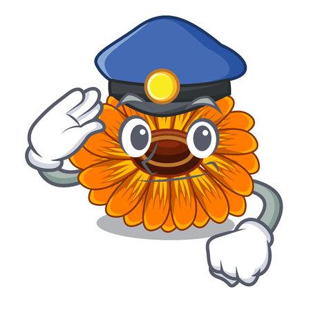 Police calendula flowers in the cartoon pots vector illustration
