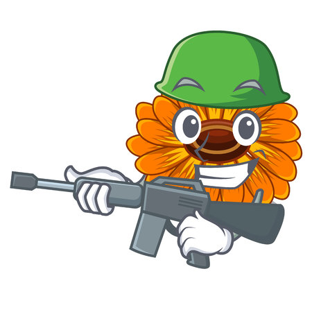 Army calendula flowers in the cartoon pots vector illustration