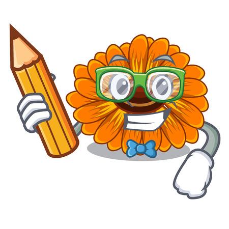 Student calendula flowers in a cartoon basket vector illustration