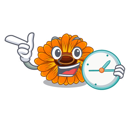 With clock calendula flowers in a cartoon basket vector illustration