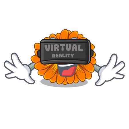 Virtual reality calendula flower in the mascot stem vector illustratrion