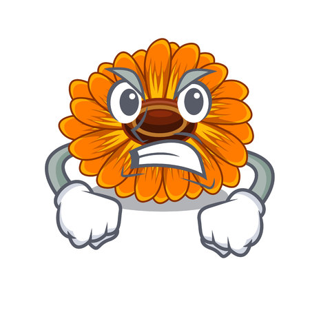 Angry calendula flower in the mascot stem vector illustratrion Ilustração