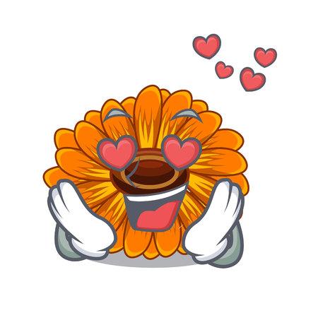 In love calendula flower in the mascot stem vector illustratrion