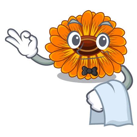 Waiter calendula flower in the mascot stem vector illustratrion Ilustração