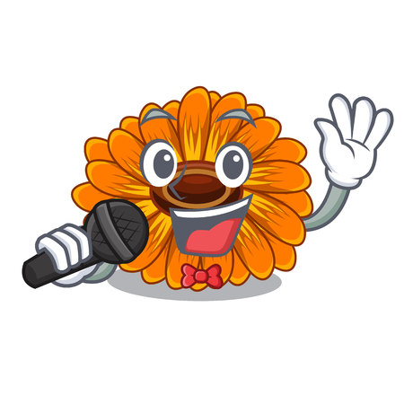 Singing calendula flower in the mascot stem vector illustratrion
