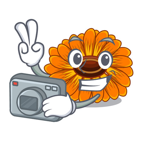 Photographer calendula flower in the mascot stem vector illustratrion Vettoriali