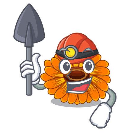 Miner calendula flower in the mascot stem vector illustratrion