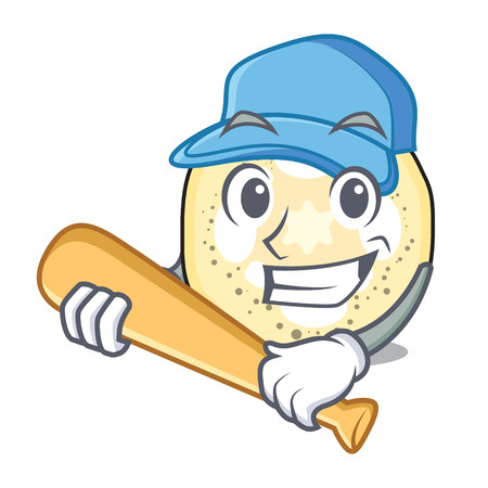 Playing baseball eggplant slices in the cartoon form vector illustration 向量圖像