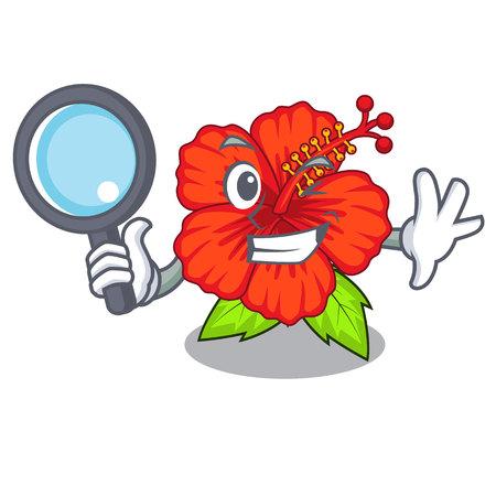 Detective flower hibiscus in a cartoon pot