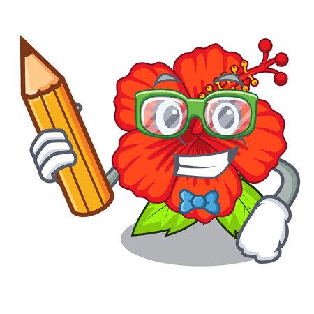Student flower hambiscus in a cartoon pot vector illustration Illustration