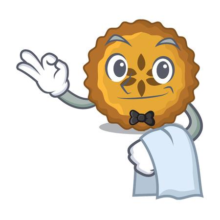 Waiter apple pie on the character board vector illustration