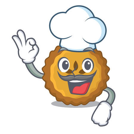 Chef apple pie on a cartoon table vector illustration