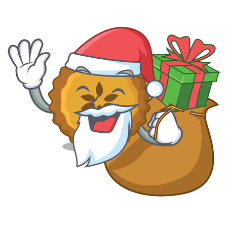 Santa with gift apple pie isolated in the mascot vector illustration
