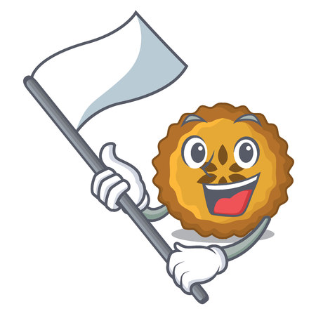 With flag apple pie isolated in the mascot vector illustration