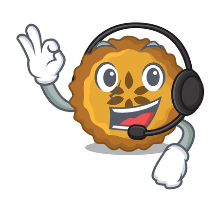 With headphone apple pie isolated in the mascot vector illustration