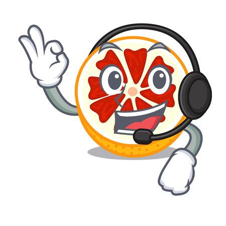 Avec le pamplemousse de casque dans une illustration de vecteur de bol en bois de mascotte