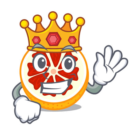 King grapefruit in a mascot wooden bowl vector illustration
